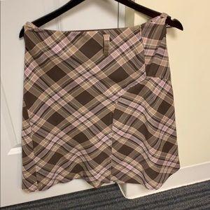 Fashionable pink, brown & tan stretch skirt 8P